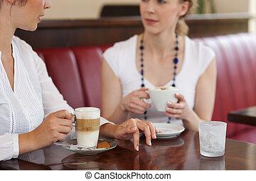 bohnenkaffee, frau, trinken, gasthaus
