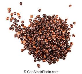 bohnenkaffee, freigestellt, weiß
