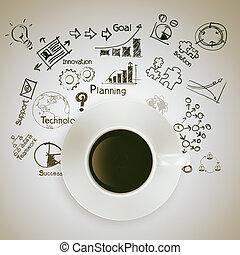 bohnenkaffee, geschaeftswelt, becher, strategie, diagramm, 3d