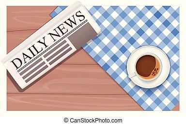 bohnenkaffee, geschaeftswelt, oberseite, zeitung, ansicht., tisch., breakfast.