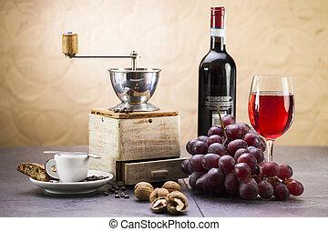 bohnenkaffee, grap, lieb, schleifer, plätzchen, cantuccini, italienesche