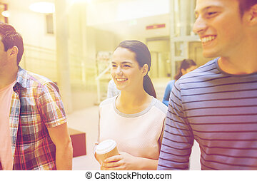 bohnenkaffee, gruppe, studenten, papier, lächeln, tassen