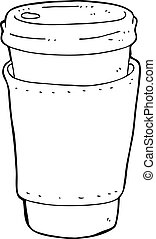 bohnenkaffee, karikatur, becher
