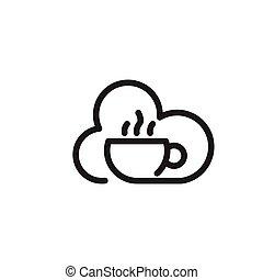 bohnenkaffee, kunst, vektor, logo, linie, wolke, ikone