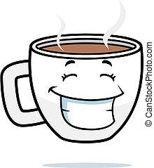 bohnenkaffee, lächeln, becher