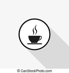 bohnenkaffee, langer, vektor, hintergrund, schatten, ikone