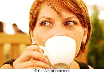 bohnenkaffee, m�dchen