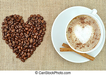 bohnenkaffee, mit, herz- form