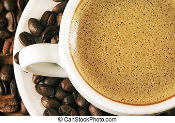 bohnenkaffee, nahaufnahme, becher