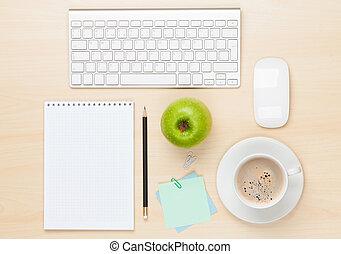 bohnenkaffee, notizblock, buero, becher, edv, tisch
