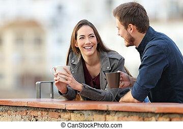 bohnenkaffee, paar- unterhaltung, terrasse, trinken, friends, oder