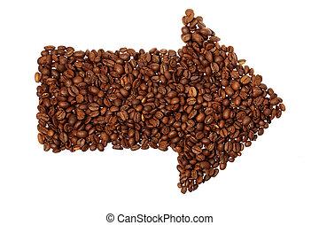 bohnenkaffee, pfeil, freigestellt, weiß