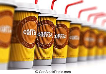 bohnenkaffee, plastik, stroh, tapezieren becher, oder, reihe