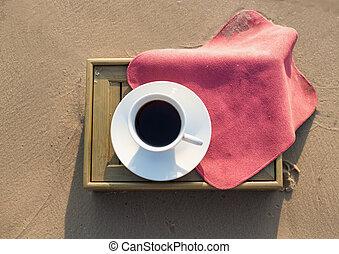bohnenkaffee, sandstrand, becher
