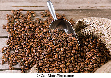 bohnenkaffee, schaufel, auf, sack, tuch, bohnen, schließen, ansicht