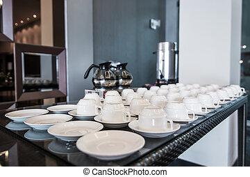 bohnenkaffee, schreibtisch, topf, becher