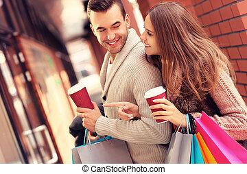 bohnenkaffee, shoppen, paar, einkaufszentrum, glücklich