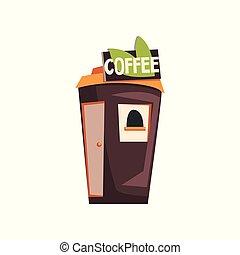 bohnenkaffee, straße, laden, kiosk, abbildung, vektor, hintergrund, imbißbude, weißes