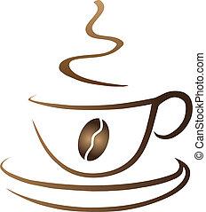 bohnenkaffee, symbolisch, becher