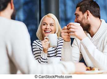 bohnenkaffee, tee, versammlung, trinken, friends, oder, ...
