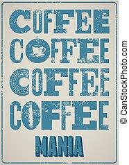 bohnenkaffee, typographical, weinlese, stil, grunge, poster., retro, vektor, illustration.