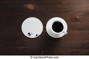 bohnenkaffee, untersetzer, becher