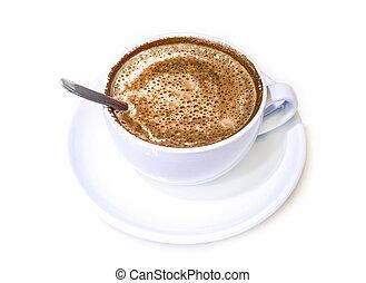 bohnenkaffee, weißer becher