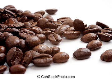 bohnenkaffee, weißer hintergrund, körner