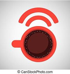 bohnenkaffee, wifi, internetverbindung, ikone