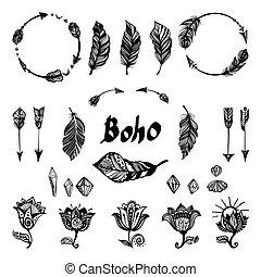 boho, セット, elements.