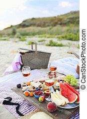 boho, ピクニック, スタイル, 浜, 日没