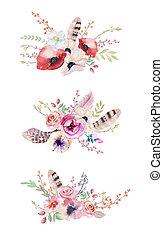 boho, 春, 水彩画, 花, 型, 花, bouquet., 葉