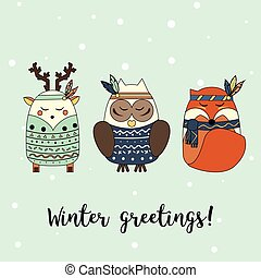 Boho animals in hand drawn style. Winter, seasonal greeting card, banner, vector background. Christmas, new year theme