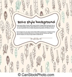 Boho background with frame and feat