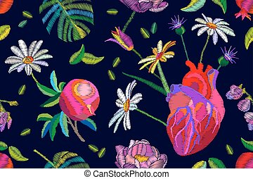 Boho chic composition. Seamless vector pattern with realistic heart and different flowers and leaves.