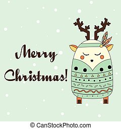 Boho deer in hand drawn style. Winter, seasonal greeting card, banner, vector background. Christmas, new year theme