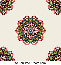 Boho doodle mandala seamless pattern. Vector illustration