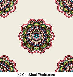 Boho doodle mandala seamless pattern. Vector illustration