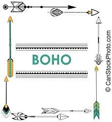 boho, estilo, plano de fondo, tribal, flecha
