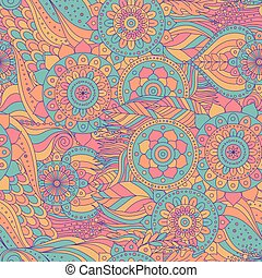 Boho ethnic asian seamless pattern. Hand drawn abstract...