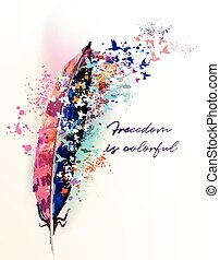 Boho fashion illustration with colorful feather and birds