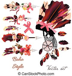 Boho fashion set from vector decorative elements head dress,...