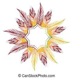 boho feather decoration frame