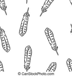 Boho feathers doodle black lineart seamless pattern. Freehand owl or hawk quill background. Vector illustration. Feather isolated on white background. Cozy lagom style texture background tile