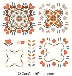 Boho floral design element clipart. Isolated decorative hand drawn flower doodle icon. Gender neutral quilt block earthy.