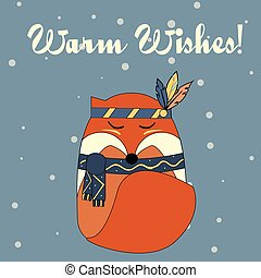 Boho fox in hand drawn style. Winter, seasonal greeting card, banner, vector background. Christmas, new year theme