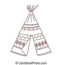 boho, mano, ornamental, tribal, dibujado, teepee, estilo