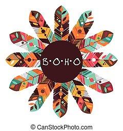 Boho style design - Boho concept with feather icon design,...