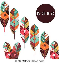 Boho style design - Boho concept with feather icon design,...