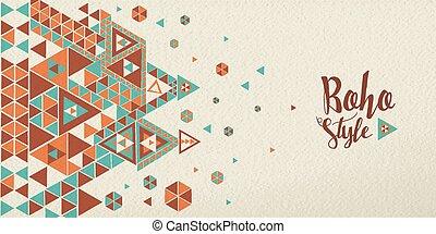 Boho style design with ethnic geometric art